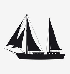 icon sailboat boat yacht side view silhoutte vector image