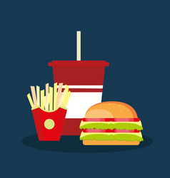icon with soda fries and double hamburger vector image