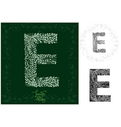 leaves alphabet letter e vector image