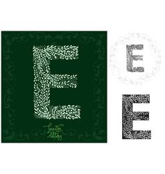 Leaves alphabet letter e vector
