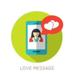 Love message flat concept Valentines day icon for vector image