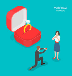 Marriage proposal flat isometric vector