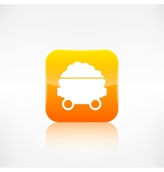 Mining coal cart iconApplication button vector