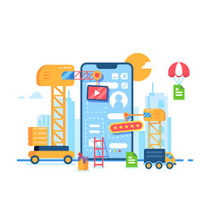 mobile app building development creative process vector image