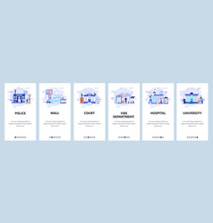 mobile app onboarding screens city buildings vector image