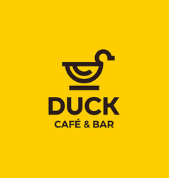 Modern professional sign logo duck cafe vector