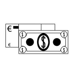 Money euro and dollar cash billets vector