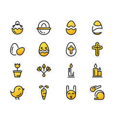 Monochrome set of easter icons vector