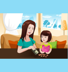 Mother and daughter saving money to a piggy bank vector
