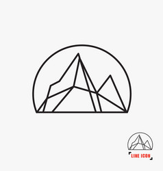 Mountain line icon vector