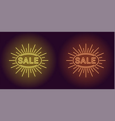 Neon icon of yellow and orange sale badge vector