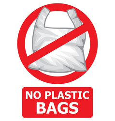 No plastic bags forbidden sign vector