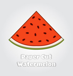 Paper cut watermeloncartoon fruit papercut vector
