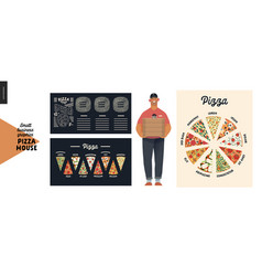 Pizza house - small business graphics - pizza guy vector