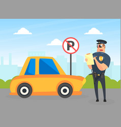 Police officer character stand near yellow car vector