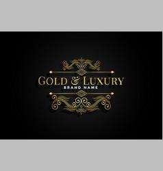 premium golden ornamental floral label design vector image