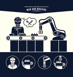 Production line Man and machine vector image