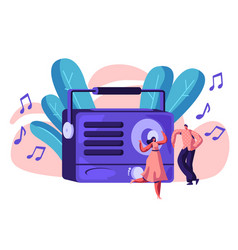 radio recorder playing music for happy person vector image