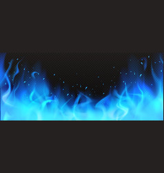 realistic blue fire border burning flame clipart vector image