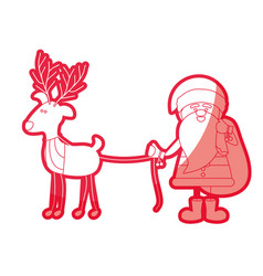 Red silhouette caricature of santa claus with gift vector