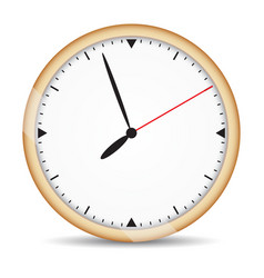 Round clock with brown frame and red second hand vector