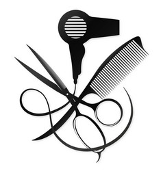 Scissors and comb design for a beauty salon vector