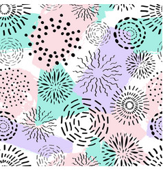 seamless pattern with different ink circles and vector image