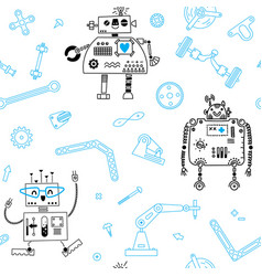 seamless pattern with robots and details for vector image