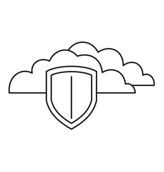 secured cloud data icon outline style vector image