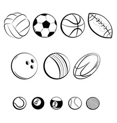 Set balls collection gaming balls black vector