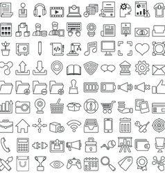 Set business outline icons for design vector