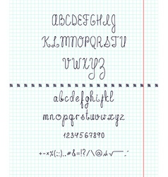 Set capital English handwriting font on paper Font vector image