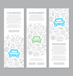 Set of car service and auto repair vertical vector