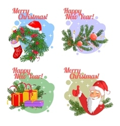 Set of Christmas stickers vector image vector image