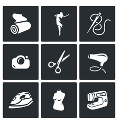 Set of Sewing Studio Icons Matter Model vector