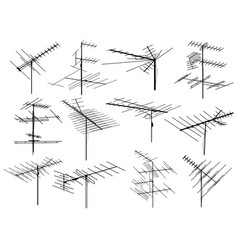 Set of silhouettes different television antennas vector