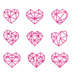 set polygonal linear heart symbols vector image