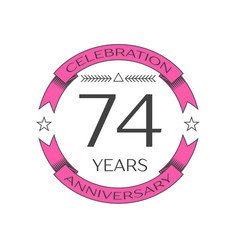 Seventy four years anniversary celebration logo vector
