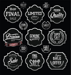 silver premium quality and guarantee labels with vector image