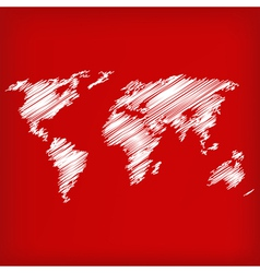 Sketch of world map on red vector