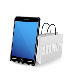 smart phone and shopping bag vector image