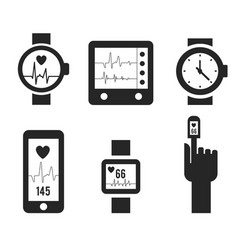 smart watch and heartbeat line logo template vector image