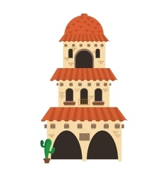 Spanish colonial architecture icon vector