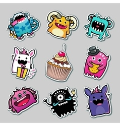 Stickers monsters for kids vector