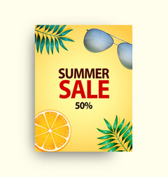 Summer sale poster set with 50 off discount vector