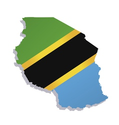 Tanzania africa map flag vector