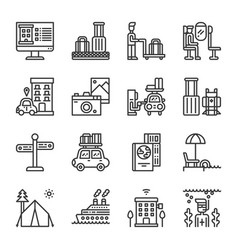 travel and vacation icon set vector image