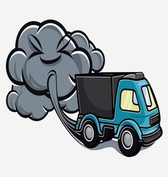 Truck exhaust fumes vector