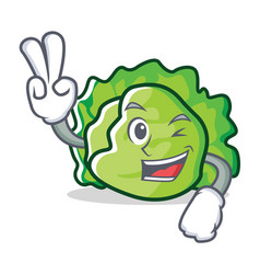 Two finger lettuce character cartoon style vector