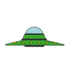 Ufo saucer spaceship vehicle object icon vector